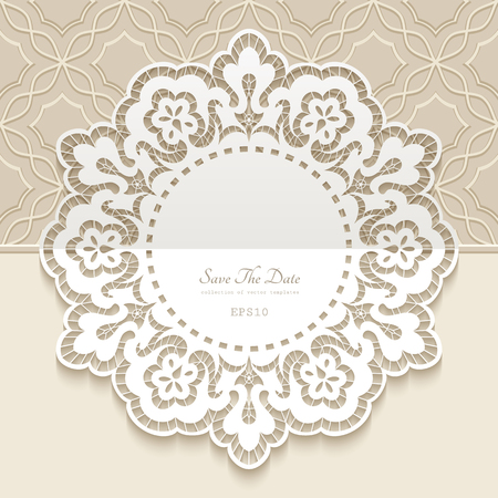 Vintage lace doily, round frame with cutout paper border pattern, ornamental decoration for wedding invitation card design Ilustração