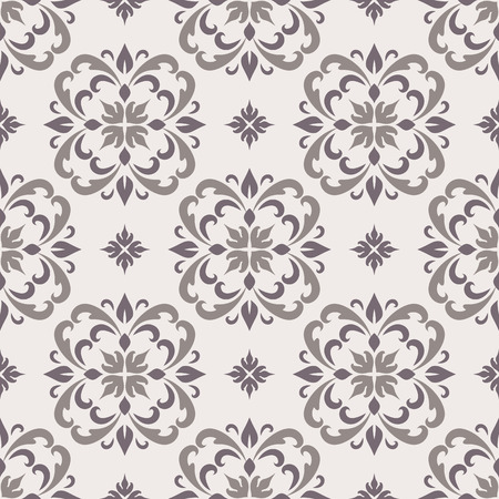 Abstract ornamental background with floral swirls, elegant seamless pattern in neutral color