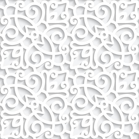 Texture de dentelle blanche, modèle sans couture avec des tourbillons de papier découpé