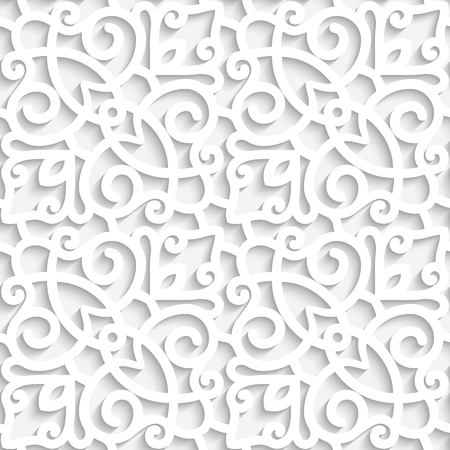 White lace texture, seamless pattern with cutout paper swirls Stock fotó - 121113649