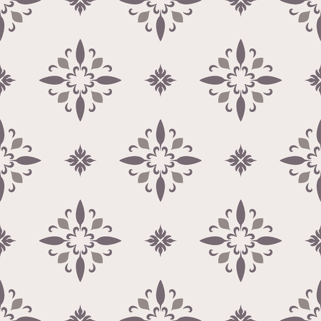 Abstract ornamental background with floral swirls, vector seamless pattern in neutral color