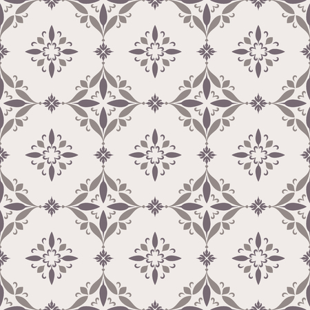 Vintage ornamental background with simple swirls, decorative tiles, abstract seamless pattern in neutral color Ilustração