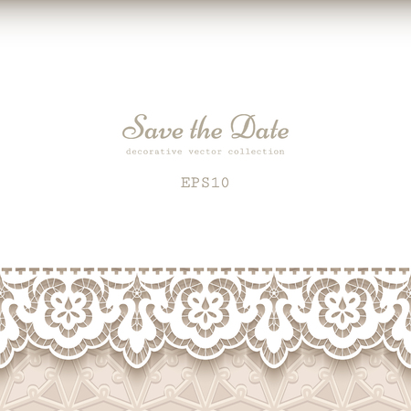 Vintage background with ornamental lace border, elegant wedding invitation or save the date card template