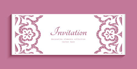 Vintage card with lace border pattern, ornamental cutout paper decoration, elegant wedding invitation template Ilustração