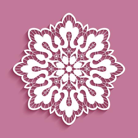 Round lace doily, cutout paper pattern, decorative snowflake, ornamental circle mandala Ilustração