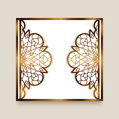 Vintage gold frame with cutout paper border, elegant lace pattern for laser cutting, ornamental golden decoration, greeting card or wedding invitation template, eps10 Ilustração