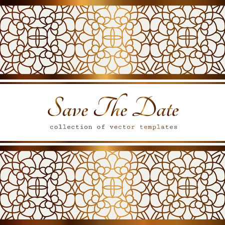 Vintage gold frame with lace border pattern, filigree line art label, ornamental golden background, elegant save the date or wedding invitation card template