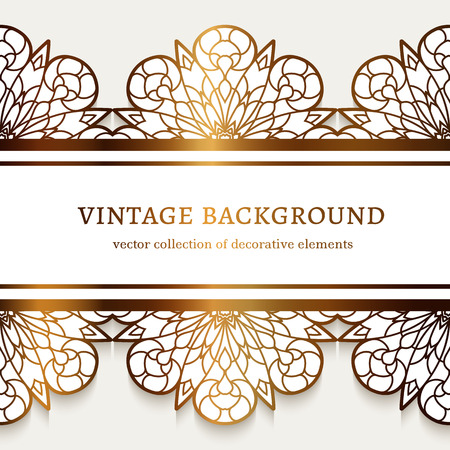Vintage gold frame with ornamental lace border pattern, filigree line art label, golden decoration for laser cutting, elegant wedding invitation card template Ilustração