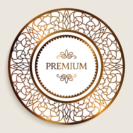 Premium quality label with gold border pattern, ornamental sticker, golden round frame with filigree pattern Ilustração