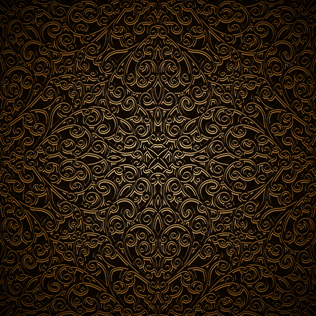 Vintage gold ornamental background with swirly filigree pattern
