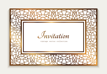 Vintage gold rectangle frame with ornamental lace border, template for laser cutting, elegant wedding invitation card design