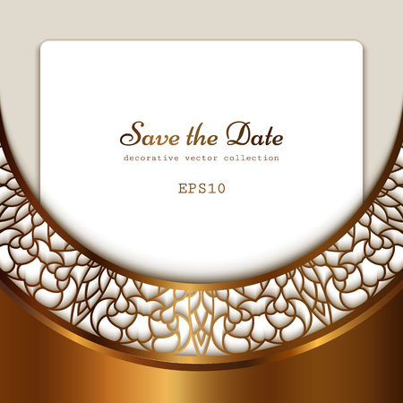 Vintage gold background, ornamental frame with cutout border pattern, golden lace decoration for save the date or invitation card design
