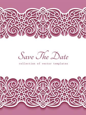 Vintage frame with ornamental lace borders, cutout paper pattern, elegant decoration for wedding invitation design, template for laser cutting Ilustração