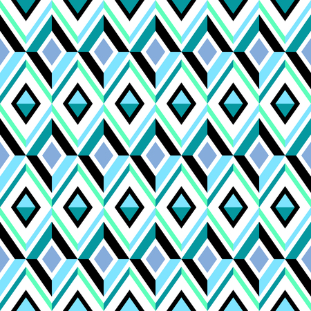 Abstract blue ornamental background, diamond seamless pattern