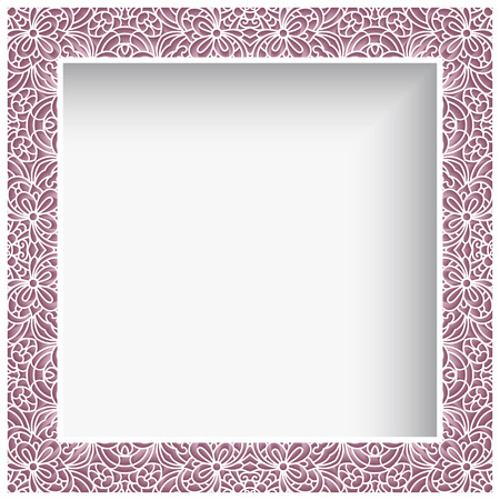 Square photo frame with lace border pattern, ornamental template for laser cutting, cutout paper decoration for greeting card or wedding invitation design