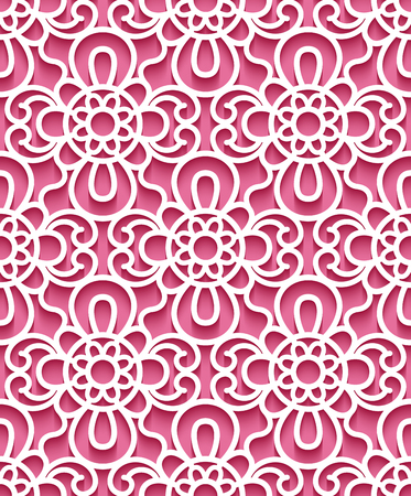 Cutout paper ornament, lace texture, tulle seamless pattern on pink background
