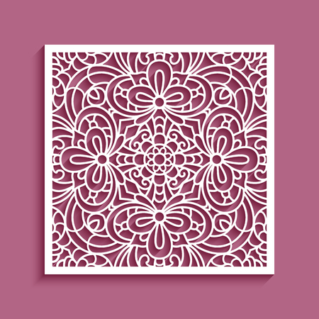 Decorative square panel with lace pattern, ornamental template for laser cutting or wood carving, cutout paper design element Ilustração