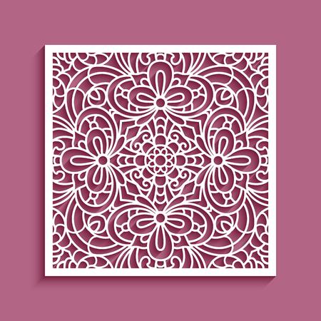 Panel cuadrado decorativo con patrón de encaje, plantilla ornamental para corte por láser o tallado en madera, elemento de diseño de papel recortado