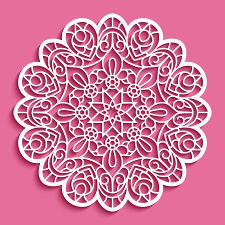 Round lace doily, cutout paper pattern, ornamental circle mandala