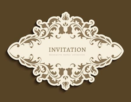 Vintage frame with cutout border pattern. Swirly flourish vignette. Elegant label with floral ornament. Ornate decoration for wedding invitation card design