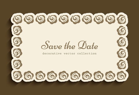 Vintage gold rectangle frame with floral border pattern, elegant wedding invitation or save the date card design