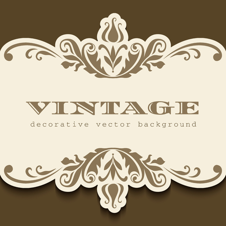 Vintage gold frame with ornate flourish decoration. Cutout paper label design. Ilustração