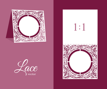 Cutout wedding invitation with floral lace pattern. Table number or name place card design. Ornamental template for laser cutting