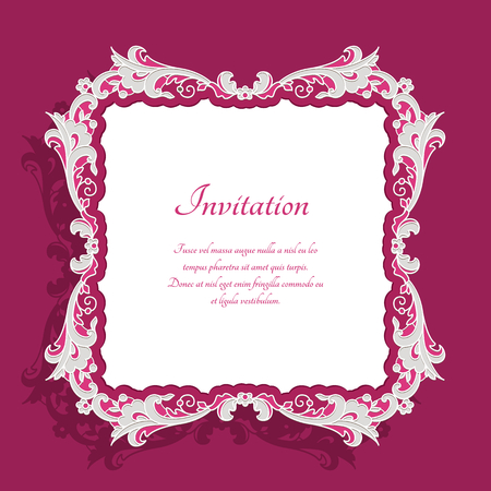 Vintage square frame with lace border pattern, vector decoration for wedding invitation card, template for photo frame
