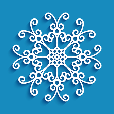Round lace doily, cutout paper snowflake, vintage circle pattern for Christmas decoration, ornamental template for laser cutting Stock fotó - 125027390