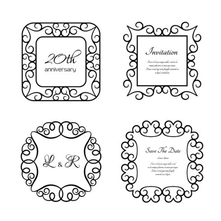 Set of vintage frames with swirly border pattern, ornamental labels on white, elegant decoration for certificate or wedding invitation design with place for text
