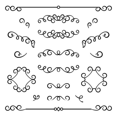 Vintage calligraphic flourishes, swirly decorative elements in retro style, vector scroll embellishment on white Stock fotó - 125027393