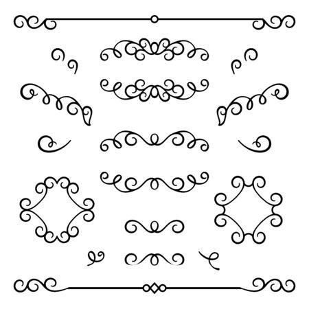 Vintage calligraphic flourishes, swirly decorative elements in retro style, vector scroll embellishment on white Ilustração
