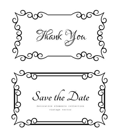 Vintage rectangle frames with ornamental border pattern, elegant decoration for wedding invitation or save the date card design Ilustração