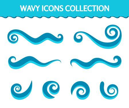 Cartoon wave icons, set of simple swirls and splashes, swirly shapes on white, decorative wavy elements