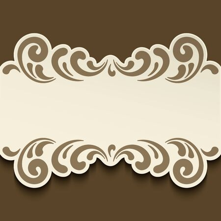 Cutout paper label with ornamental swirly border pattern, elegant vector decoration for save the date card or wedding invitation design