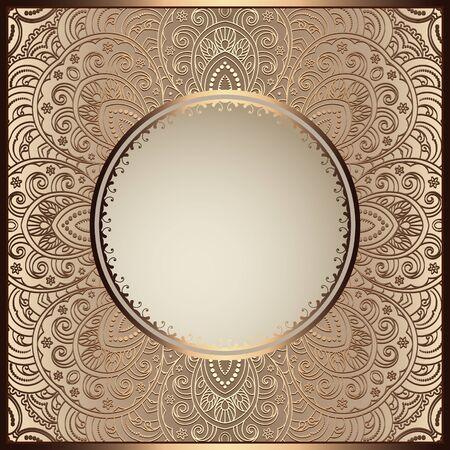 Vintage gold ornamental frame with filigree lace pattern