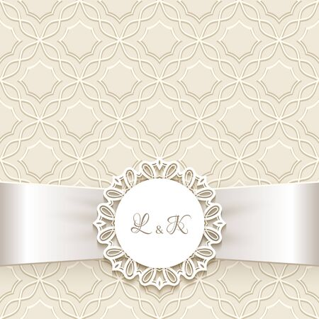 Vintage ornamental frame with round lace label and silk ribbon, wedding invitation or save the date card template