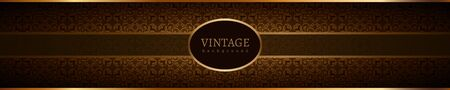 Vintage banner with gold label on ornamental background. Place for text.
