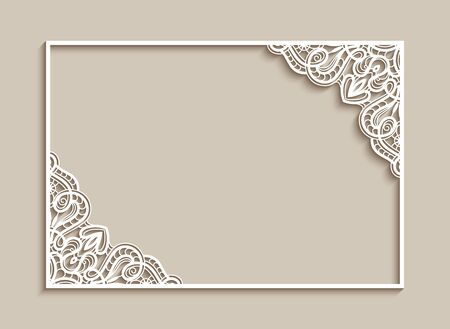 Rectangle frame with lace corner pattern