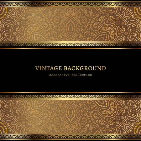 Vintage ornamental frame with gold lace border pattern Illustration
