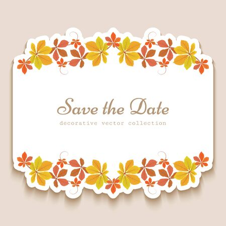 Autumn invitation card with ornamental borders of yellow falling leaves, seasonal sale label with place for text