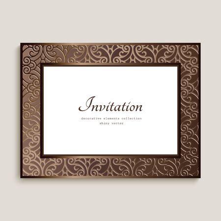 Vintage rectangle card with ornamental border, photo frame, elegant wedding invitation card design with place for text Illustration