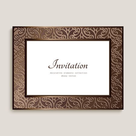 Vintage rectangle card with ornamental border, photo frame, elegant wedding invitation card design with place for text Illusztráció