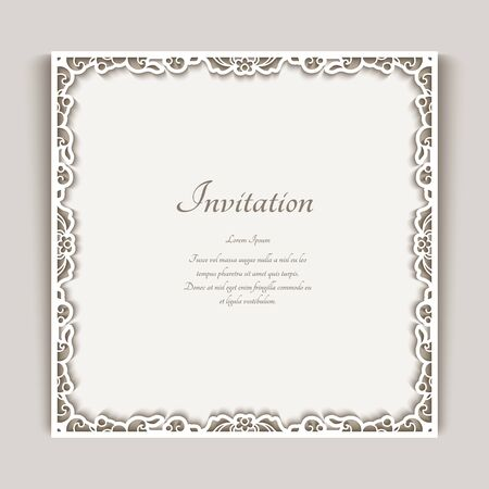 Square frame with ornamental lace border, cutout paper decoration, elegant wedding invitation or table place card design, template for laser cutting Illusztráció