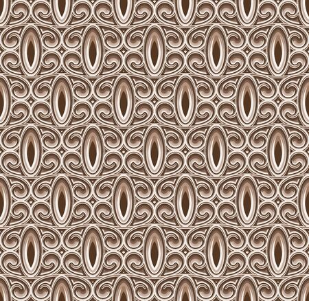 Vintage ornamental background, swirly seamless pattern, carved wooden texture Illusztráció