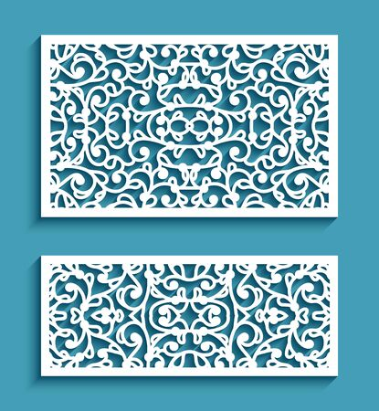 Decorative rectangle panels with lace pattern, ornamental tiles, elegant templates for laser cutting or wood carving