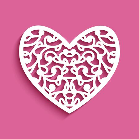 Cutout paper heart with lace ornament on pink background, stencil template for laser cutting, elegant decoration for wedding invitation or Valentine's Day greeting card