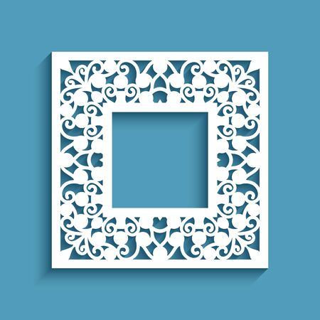 Square frame with cutout paper border, template for laser cutting, ornamental lace decoration for wedding invitation design with place for text Illusztráció
