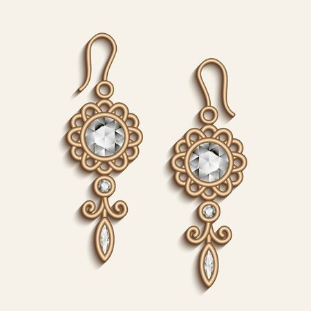 Vintage gold jewellery earrings with diamond gemstones, elegant jewelry pendants, filigree women's decoration on white