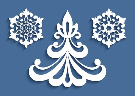 Christmas ornaments, ornate decoration set - cutout paper Christmas tree and snowflakes, template for laser cutting